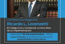 Derecho invita a conferencia Magistral del Dr. Ricardo Lorenzetti