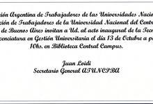 Invitación Acto Inaugural de TGU y LGU